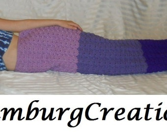 Mermaid Tail Blanket Cocoon Hand Crochet for Boy/Girl Toddler Child Preteen Teen Adult (Purple Haze Sunset) Fast Turn Around