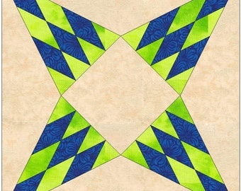 Rockingham Beauty Priscilla Paper Template Quilting 8 inch Block Pattern PDF