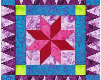 Rick Rack Star Paper Piece Foundation Quilting Block Pattern PDF
