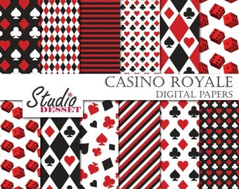 EXCLUSIVE 80% SALE Casino Digital Papers, Poker Playing Card Paper in black and red, Gambling Backgrounds A004