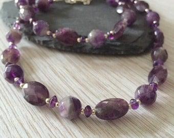 Amethyst Necklace, Gemstone Necklace, Birthstone Necklace, February Birthstone, Amethyst & Silver Necklace