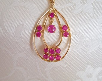 """Pink Sapphires Teardrop Necklace w/16"""" Chain in 14k Yellow Gold -EB446"""