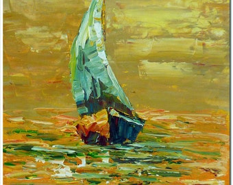 Sailboat - Signed  Hand Painted Palette Knife Oil Painting On Canvas
