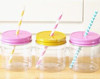 Plastic Mason Jars, 10 Straw lids Mason Jars, Kids Party Favors, Kids Plastic Mason cups Baby Shower Favors Wedding Favors Mason Jar Favors