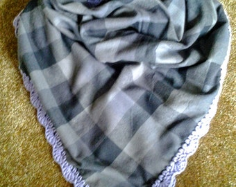 Gray Plaid Flannel Blanket Scarf with Crochet Edge