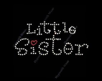 "Rhinestone Transfer "" Little Sister with Heart "" Iron On, Hotfix, Bling, Cute, Girls"
