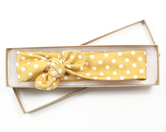 Polka Dot Organic Cotton Knotted Headband/ Infant Headband/ Toddler Headband/ Mustard Yellow Gold Headband