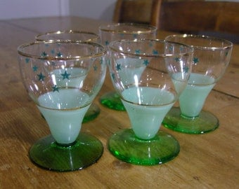 Art Deco shot/sherry glasses