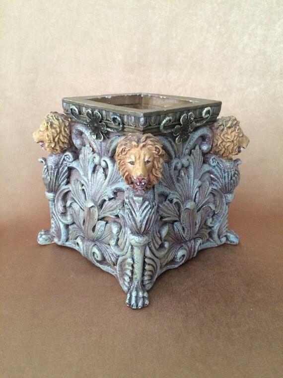 Lion Head Planter Cast Resin Planter Verdigris Color Office