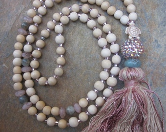 long beaded  necklace wooden bead tassel necklace  sea turtle necklace turquoise beach jewelry sparkly cottage chic tassel bohemian necklace