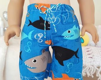 18 inch boy doll shorts | shark swim trunks