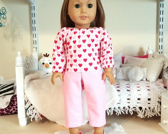 18 inch doll heart top and jeans