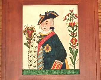Watercolor and ink - painting of King Frederick II  of Prussia
