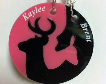 Personalized Buck and Doe Interlocking Necklace