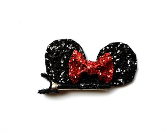 Black Glitter Mouse Ears Clip Bow for Baby Headband for Newborn Child Little Girl Adult Sparkly Character Rodent Adventure Ears