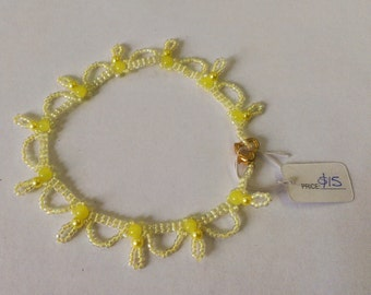 Yellow Ankle Bracelet, Yellow Anklet, Ankle Bracelet, Anklet, Foot Jewelry, Ankle Jewelery