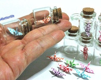 Lot Of 12pcs 1-inch Hand-folded Paper Crane In Clear Glass Mini Bottle With Cork. (MD paper series). #CIB12d.