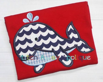 Whale Summer Beach Ocean Machine Applique Design