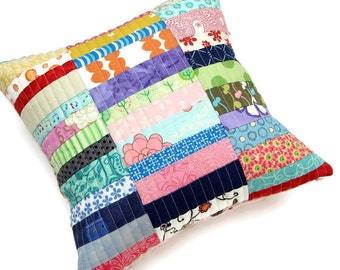 Quilted Pillow Cover, Pink Princess Pillow Cover 12x12, Patchwork Pillow Sham, Gifts for girls, Accent Pillow