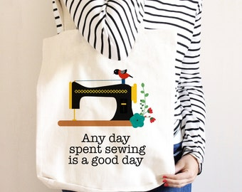 Sewing Tote Bag - Gift for Sewer - Quilters Canvas Bag