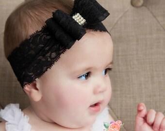 Black baby headband, Newborn headband, Christening headband, Baptism headband, Big bow headband, Lace headband, Baby girl headband,Baby Bows