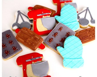 Half Dz. Baking Themed Cookies! Bun In The Oven Theme, Baking Love! Perfect gift idea!!
