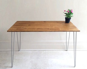 Light Wood Desk on Hairpin Legs, Desk, Small Desk, Rustic Desk, Hairpin Desk, Hairpin Table. CHOOSE ANY SIZE! Free shipping!