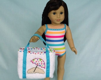 Rainbow Stripe Bathing Suit and Beach Umbrella Bag for American Girl/18 Inch Doll