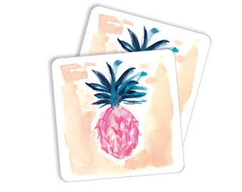 """Cute Coasters: """"Pineapple in Pink"""" Paper Coasters, Bar Cart Coasters, Party Coasters, Blue Green Party Coasters"""