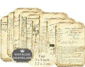 French Ephemera Tags Journals Ephemera Documents Vintage Instant Download digital collage sheet T192