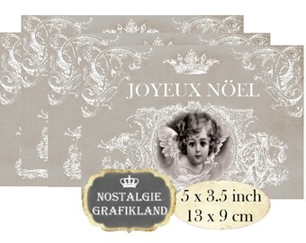 Joyeux Noel Christmas Shabby Chic Angels Postcard 5x3.5 inch Instant Download digital collage sheet P131 french ornaments