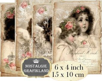 Vintage Angels 6 x 4 inch Instant Download digital collage sheet D181 vintage christmas angel anges