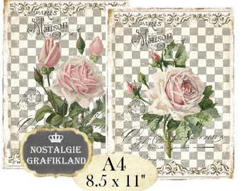 Shabby Chic Roses Victorian Rose Flowers Fleurs Paris Maison Transfer Instant Download digital collage sheet A112