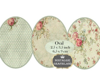 Shabby Chic Background Oval 3.5 x 2.5 inch Pastel Roses Ovals Instant Download digital collage sheet O119