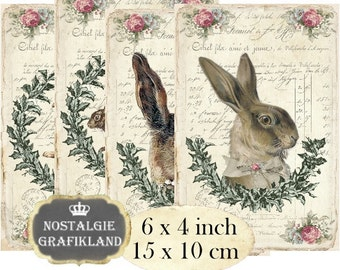 Rabbits Bunnies Easter Hare French Animals Lapin Lievre 6 x 4 inch Instant Download digital collage sheet D172