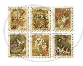 Fake stamps. Old postage stamps. Vintage digital stamps. Postage stamp art. Digital collage sheet. Birds and flowers. Instant download PNG