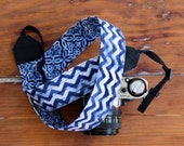 Batik blue camera strap, mens reversible camera strap, womens navy blue white chevron medallion, gift for photographer, unisex camera strap