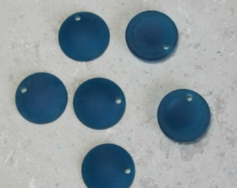 3  Pair of Beach Glass  23mm Teal