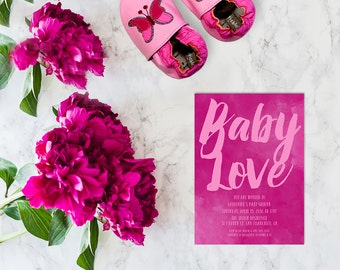 Watercolor Baby Shower Invitations in Fuschia Pink / PRINTED 5x7 Baby Cards / Watercolor Brush