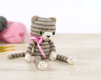PATTERN: Stripy amigurumi cat - Crochet pattern with photos