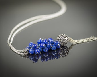 Blue stone necklace, Lapis Lazuli stone necklace, Long beaded necklace, Handmade stone necklace, Hand crafted Jewelry, Costume Necklace
