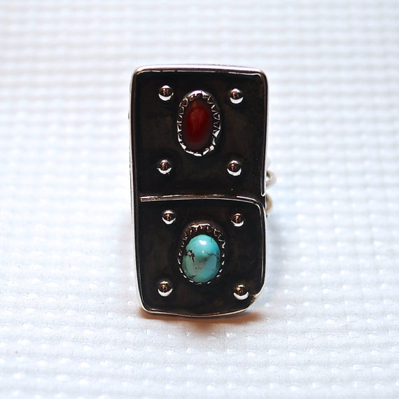 Native American Sterling Silver Turquoise Coral Ring Sz 9 #4087