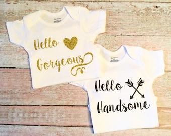 New Baby Romper - Twins Romper Set, Newborn Rompers, Newborn Outfits, Newborn Photo Prop, Bring Home Baby Outfit, Baby Girl Outfit, Baby Boy