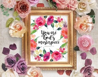 You are God's masterpiece, PRINTABLE, bible scripture quote print floral wreath baby nursery wall art, Ephesians 2:10, Christian home decor