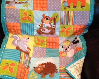 Hand quilted forest animals baby quilt