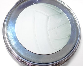 Volleyball Inset Metal Compact Makeup Mirror Case MEN-0045