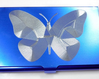 Butterfly BLUE Engraved Business ID Card Patch Case BUS-0442