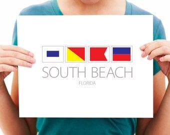 South Beach, Florida - SOBE - Nautical Flag Art Print