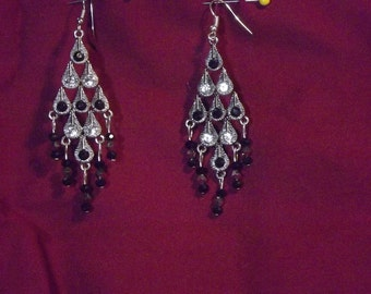 Item # 2009 Black and silver Chandelier Earrings SALE PRICE