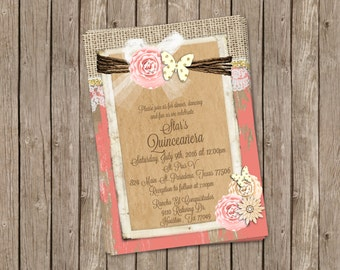 Quinceañera invitation, Butterfly, Coral and gold Quinceañera invitation